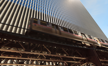 Chicago transit loop train traveling through the downtown area. photo