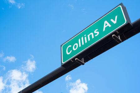 collins: Collins Avenue street sign in Miami Beach