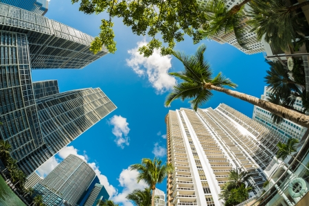 miami: Fish eye view of the Brickell area in downtown Miami along Biscayne Bay.