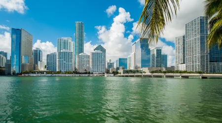 city of miami: Downtown Miami view along Biscayne Bay from Brickell Key  Stock Photo