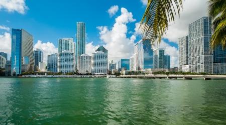 miami florida: Downtown Miami view along Biscayne Bay from Brickell Key  Stock Photo