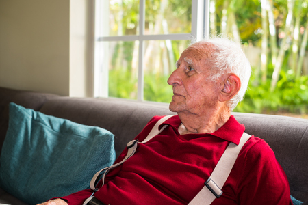 the elderly residence: Elderly eighty plus year old man in a home setting. Stock Photo