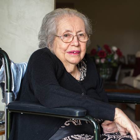 octogenarian: Elderly eighty plus year old woman portrait in a home setting.