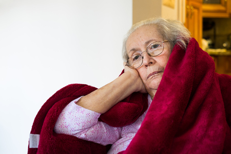 the elderly residence: Elderly eighty plus year old woman in a home setting.