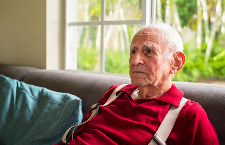 Elderly eighty plus year old man in a home setting. Stock Photo