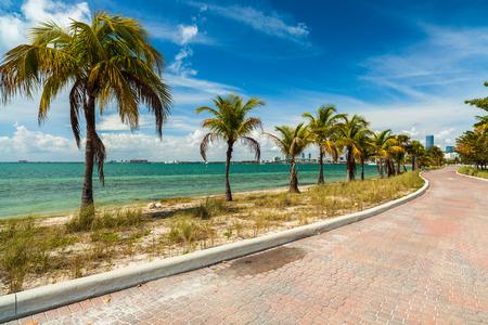 Pretty beach along the Rickenbacker Causeway in Key Biscayne in Miami  photo