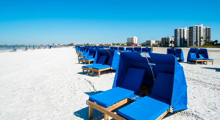 Cabanas along popular Fort Myers Beach on the west coast of Florida.