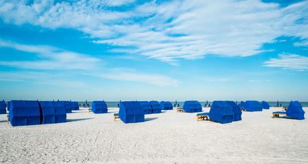 Cabanas along popular Fort Myers Beach on the west coast of Florida.