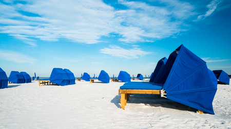 cabana: Cabanas along popular Fort Myers Beach on the west coast of Florida.