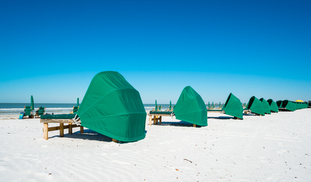 Cabanas along popular Fort Myers Beach on the west coast of Florida. photo