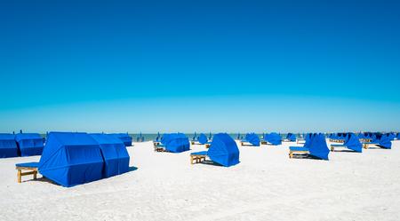 myers: Cabanas along popular Fort Myers Beach on the west coast of Florida.