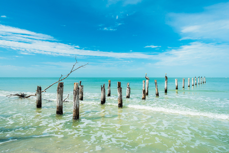 gulf of mexico: Rustic decaying pier along Fort Myers Beach on the west coast of Florida