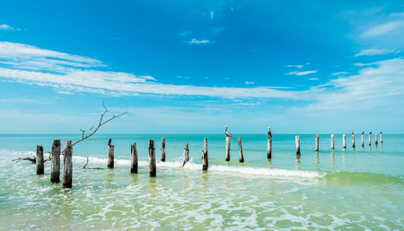 Rustic decaying pier along Fort Myers Beach on the west coast of Florida  photo