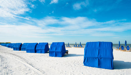 myers: Cabanas along popular Fort Myers Beach on the west coast of Florida