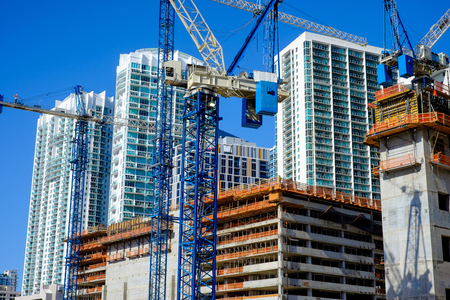 site: Close up view of a urban downtown construction site.