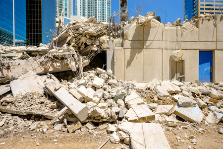 demolition: Close up view of a urban downtown construction site  Stock Photo