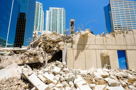 Close up view of a urban downtown construction site  Banco de Imagens