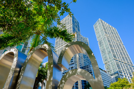 Skyward view of the Brickell area in downtown Miami