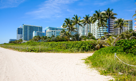Scenic Miami Beach on a sunny day with condos and resort hotels. photo