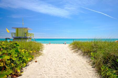 beach hut: Pathway to historic Miami Beach  Stock Photo
