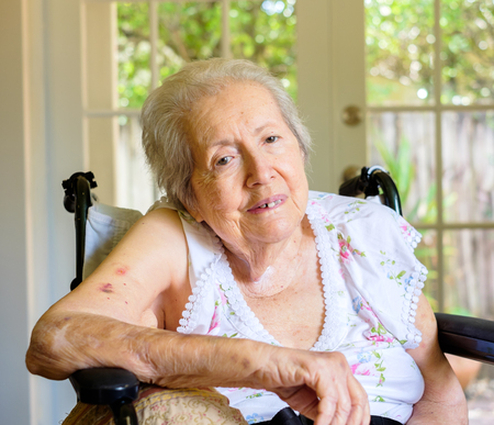 the elderly residence: Elderly eighty plus year old woman in a wheel chair in a home setting. Stock Photo