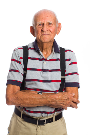 octogenarian: Elderly eighty plus year old man in a studio portrait on a white background.