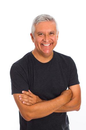 Handsome middle age man studio portrait on a white background. Standard-Bild