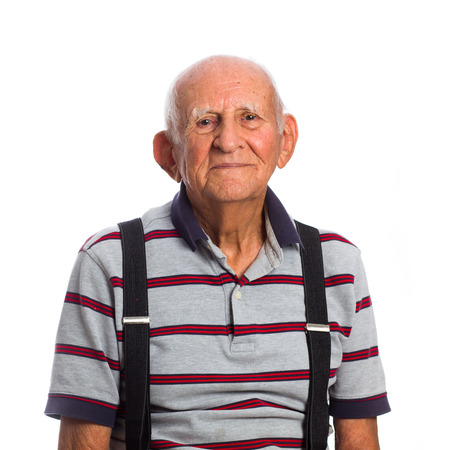 Elderly eighty plus year old man in a studio portrait on a white background.