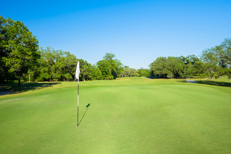 Landscape view of a beautiful golf course. photo