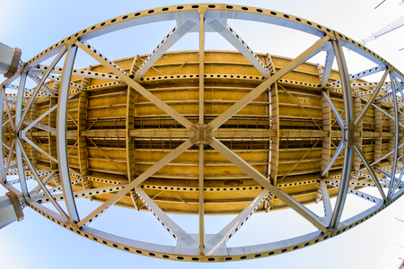 underbelly: Fish eye view of the underside of the Baton Rouge bridge on Interstate Ten over the Mississippi River in Louisiana. Stock Photo