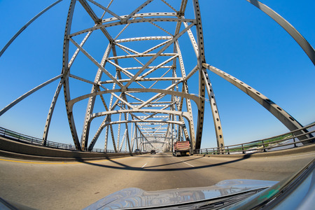 Fish eye view of the Baton Rouge bridge on Interstate Ten over the Mississippi River in Louisiana. photo