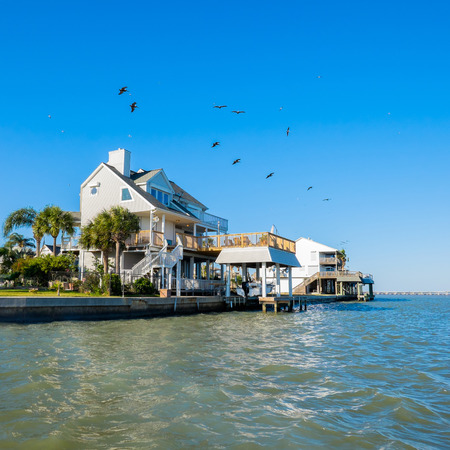 Waterfront community on the Texas Gulf coast near Galveston. photo