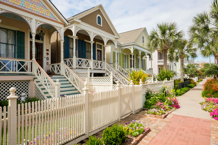 suburb: Beautiful vintage homes of the historical district in Galveston, Texas.