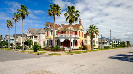 Beautiful vintage homes of the historical district in Galveston, Texas. photo