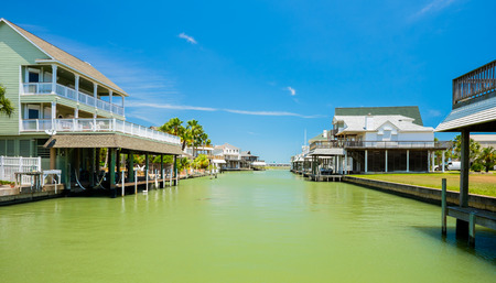 Waterfront community on the Texas Gulf coast near Galveston. Stock Photo