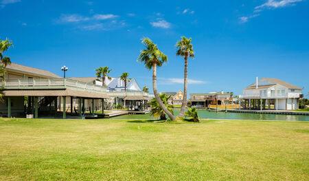 multi story: Waterfront community on the Texas Gulf coast near Galveston. Stock Photo