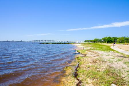 gulf of mexico: Gulf coast beach in Ocean Springs, Mississippi.