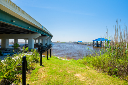 mississippi: Beach Boulevard highway bridge over Biloxi Bay in Mississippi. Stock Photo