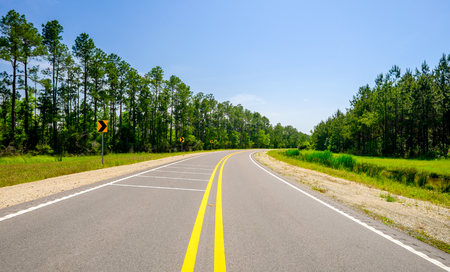curve road: Two lane rural highway curves along a pine tree forest.