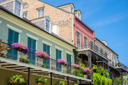 urban apartment: Colorful architecture in the French Quarter in New Orleans, Louisiana. Stock Photo