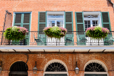 balcony window: Colorful architecture in the French Quarter in New Orleans, Louisiana. Stock Photo