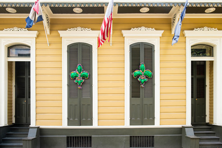 french doors: Colorful architecture of the French Quarter in New Orleans, Louisiana.