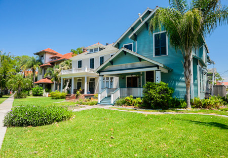 suburban neighborhood: Typical southern style homes from New Orleans, Louisiana.