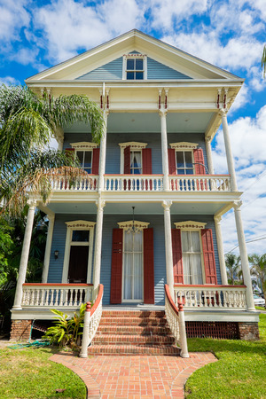 anne: GALVESTON, TEXAS USA - MAY 6, 2014: The Silk Stocking Residential Historic District in Galveston contains beautifully restored vintage homes of the Queen Anne architecture style.