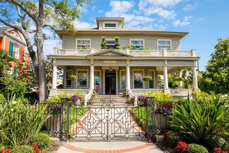 GALVESTON, TEXAS USA - MAY 6, 2014: The Silk Stocking Residential Historic District in Galveston contains beautifully restored vintage homes of the Queen Anne architecture style.