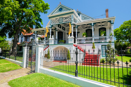 NEW ORLEANS, LOUISIANA USA - MAY 2, 2014: Beautifully restored and decorated southern style home from the Esplanade Avenue area in New Orleans, Louisiana. Redakční