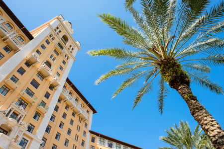 gables: CORAL GABLES, FL USA - MAY 23, 2014: The historic and luxurious Spanish style Biltmore Hotel built in 1925 located in Coral Gables.