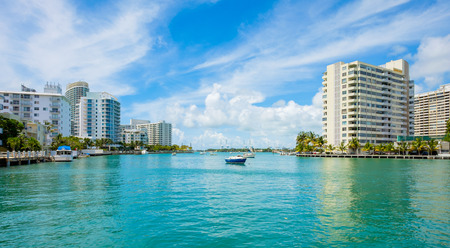 waterway: Scenic Miami Beach view along the Venetian Causeway with sailboats and condos along the bay. Stock Photo