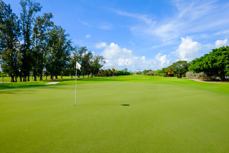Golf course landscape viewed from the putting green  Stock Photo