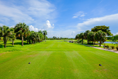 golf course: Golf course landscape viewed from the tee box  Stock Photo